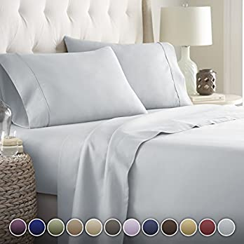 HC COLLECTION Bed Sheets Set, Hotel Luxury Platinum Collection 1800 Series Bedding Set, Deep Pockets, Wrinkle & Fade Resistant, Hypoallergenic Sheet & Pillow Case Set