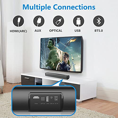 Audvoi Sound Bars for TV, 16'' Small Soundbar Built-in DSP TV Speaker with Bluetooth 5.0, 3D Surround Sound Home Audio Sound Bar with Remote Control and 5 EQ for Home Theater/Gaming/Projectors