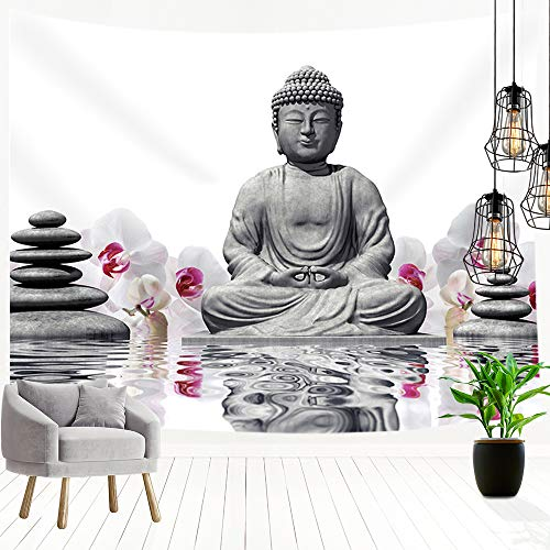 JAWO Buddha Tapestry, Orchid with Black Stones with Water Bedroom Living Room Dorm Wall Hanging Tapestry Blanket for Wall Decor 3D Print Art Tapestry 71x60 inches ()