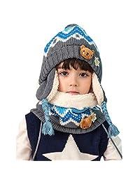TRIWONDER Kids Winter Knit Hat Scarf Set Warm Fleece Flap Cap Neck Warmer for Boys Girls Toddlers (Blue)