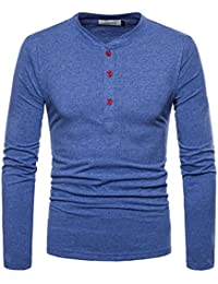 NQ Mens Classic Fit Solid Color Button Crew Neck Long Sleeve Henley T-Shirts