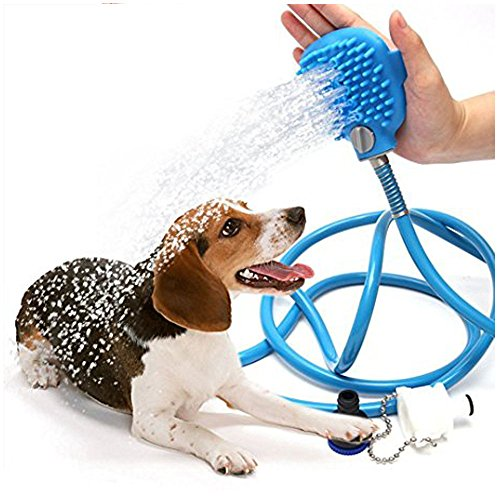 JB Pet Shower Sprayer Pet Bathing Tool Multi-Functional Bath Hose Sprayer and Scrubber Scrub 2 in One, Dog Cat Long Short Hair Grooming Bath Shampoo Brush and Massager Indoor and Outdoor Use by JB Pet Products (Image #2)'