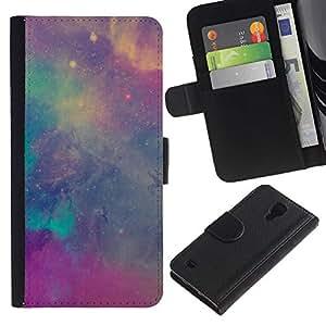 Paccase / Billetera de Cuero Caso del tirón Titular de la tarjeta Carcasa Funda para - stars nebulae purple teal sky cosmos - Samsung Galaxy S4 IV I9500