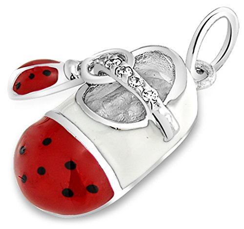 (Engravable White Enamel Red Ladybug CZ Baby Shoe Charm Pendant Necklace For New Mother Women 925 Sterling Silver)