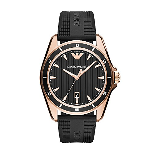 Emporio Armani Men's 'Sport' Quartz Stainless Steel and Rubber Casual Watch, Color:Black (Model: AR11101) ()