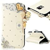S5 Case,Samsung Galaxy S5 Case - Mavis's Diary 3D Handmade Wallet PU Leather with Bling Crystal LOVE Heart Pendant Shiny Diamonds Sparkly Flowers Magnetic Clasp Card Holders Flip Folio Cover (White)