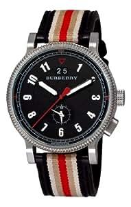 Burberry Men's BU7680 Check Engraved Black Dual Time Zone Stripe Strap Watch