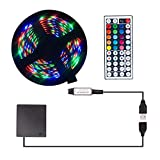comboss Battery LED Light Strip with 44 Key IR Remote, 3.28Ft 30 SMD 5050 RGB LEDs Strip Lighting for TV Backlight Car Bike