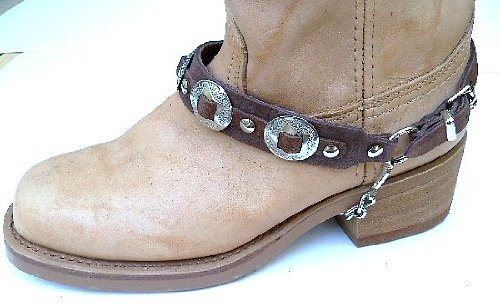 """Western Boots Boot Chains Brown Leather with 3 1"""" Conchos NP"""