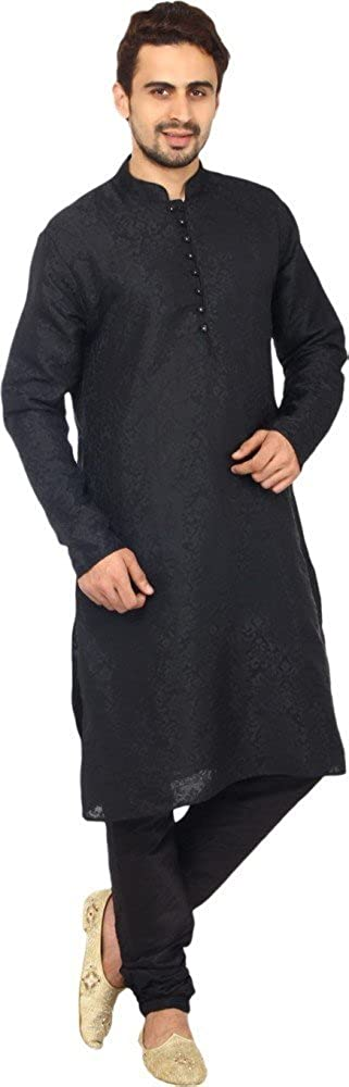 Royal Kurta Men's Jacqaurd Silk Kurta Churidar Set KELA-SILK-BLACK-38-1-$P