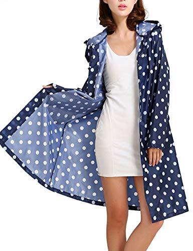 Tonfei Women's Long Waterproof Raincoat Cute Polka Dot Lightweight Packable Rain Jacket with Hood for Women Teen Girls