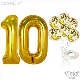 Amazon.com: Globos de confeti número 10 y oro – grandes, 40 ...