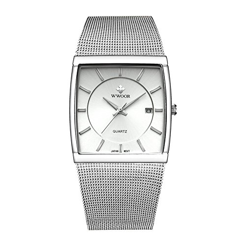 Men's Elite Ultra Thin Stainless Steel Analog Quartz Watch Square Luminous Mesh Wristwatch with Date (Silver)