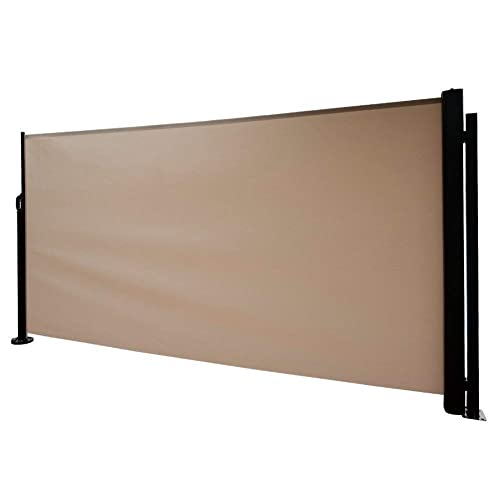 Abba Patio Retractable Folding Side Awning Screen Fence Privacy Divider with Steel Pole, 5.2 H, Beige