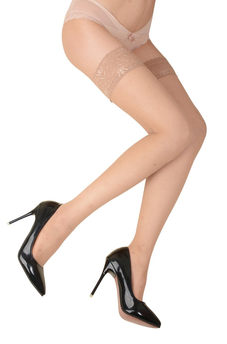 Artiff Women's Thigh High Stockings Sheer Silicone Lace Top Nude 2 Packs