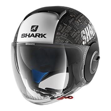Shark Nano Tribute Casco de Moto, Negro/Blanco, Talla XS