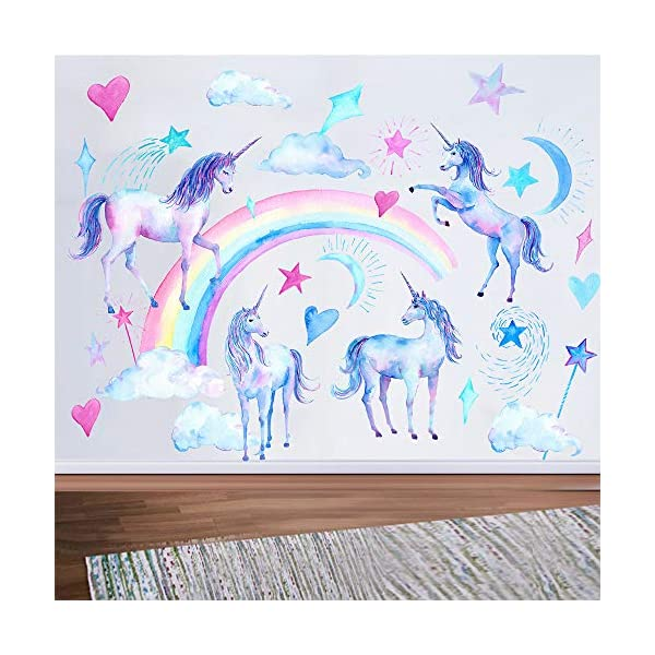 HAOLEJIA Beautiful Kids' Bedroom Unicorn Wall Sticker Decal,3D Art Decal Sticker for Child Room Wall Decoration 5