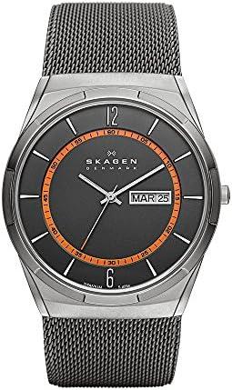 Skagen Men s Titanium Watch with Orange Accents