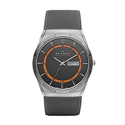 Skagen Men's Melbye Quartz Titanium and Stainless Steel Mesh Casual Watch, Color Grey (Model: - Titanium Mesh Watch