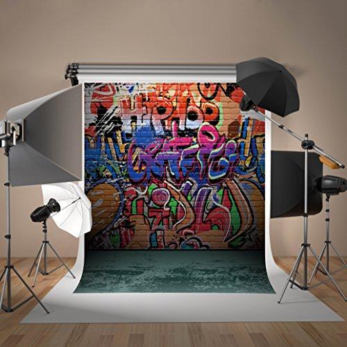 Kate 6.5x10ft(2x3m) Graffiti Photography Backdrops for Photographers Microfiber Seamless No Wrinkle Hip Hop Graffiti Brick Wall Photo (Hip Hop Backdrop)