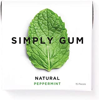 product image for Simply Gum | Natural Chewing Gum | Peppermint | Pack of Six (90 Pieces Total) | Plastic Free + Aspartame Free + non GMO