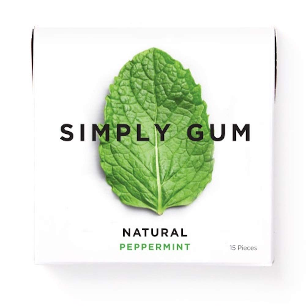 Simply Gum Peppermint All Natural Non-GMO Chewing Free Plastic Gum Without Aspartame