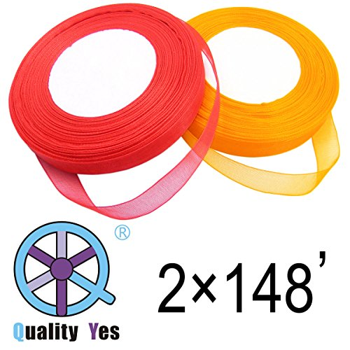 2 Roll 1/2 Inch Wide Wire Edge Ribbon