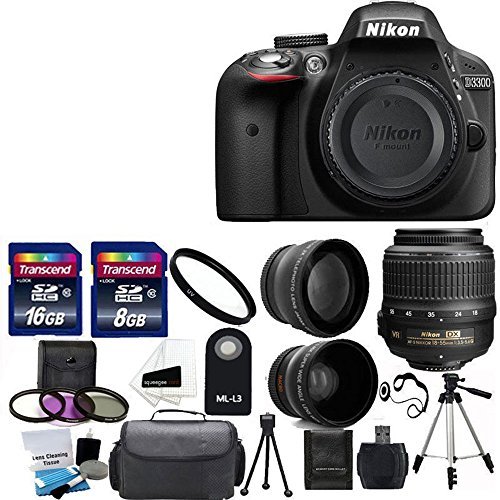 Nikon D3300 24.2 MP CMOS Digital SLR Camera with 18-55mm f/3.5-5.6G VR II Zoom Lens + 2x Professional Lens +HD Wide Angle Lens + UV Filter Kit with 24GB Deluxe Accessory Bundle (Renewed)