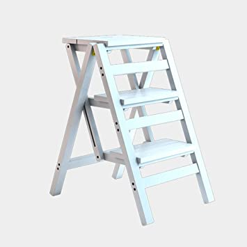 WCS Escalera multifunción Taburete Hogar Madera maciza IKEA Niños Silla plegable Provincia Espacio Escalera de cuatro pasos de doble uso Ascendente Escalera Color 42 × 55 × 68 cm (Color : White): Amazon.es: Bricolaje y herramientas