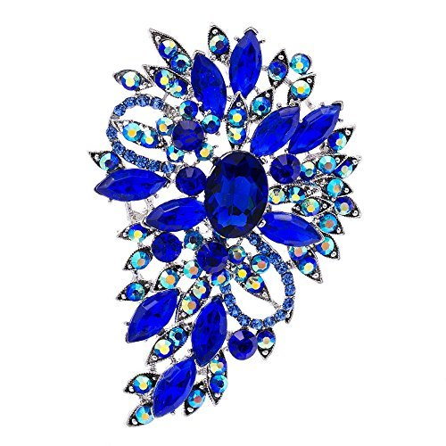 Blue Rhinestone Brooch Women Jewelry Broaches Pins Flower Wedding Bouquet Birthday Gifts 4080