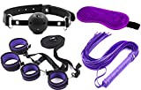 Suprer Soft Comfortable Fur Leather Under-bed cuffs, Velvet Cloth Blindfold Eye Mask, Whip and Gag 4-Packs for Cosplay (Purple)