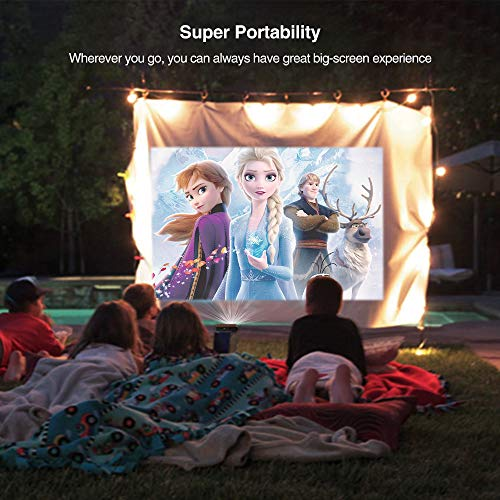 Mini Pocket LED Projector Wifi Portable Wireless Pico DLP Video Projector 3D Ready Compact Small with Battery HDMI USB Audio Built In Speakers Support 1080P HD for Home Theater Game TV Outdoor Movie