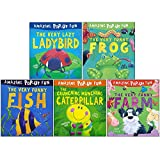 Amazing Pop-Up Fun 5 Books Set Collection (Lazy Ladybird, Funny Frog, Funny Fish, The Crunching Munching Caterpillar, Funny Farm)