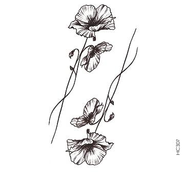 Tatouage Temporaire Fleur Coquelicot Tatouage éphémère Fleur