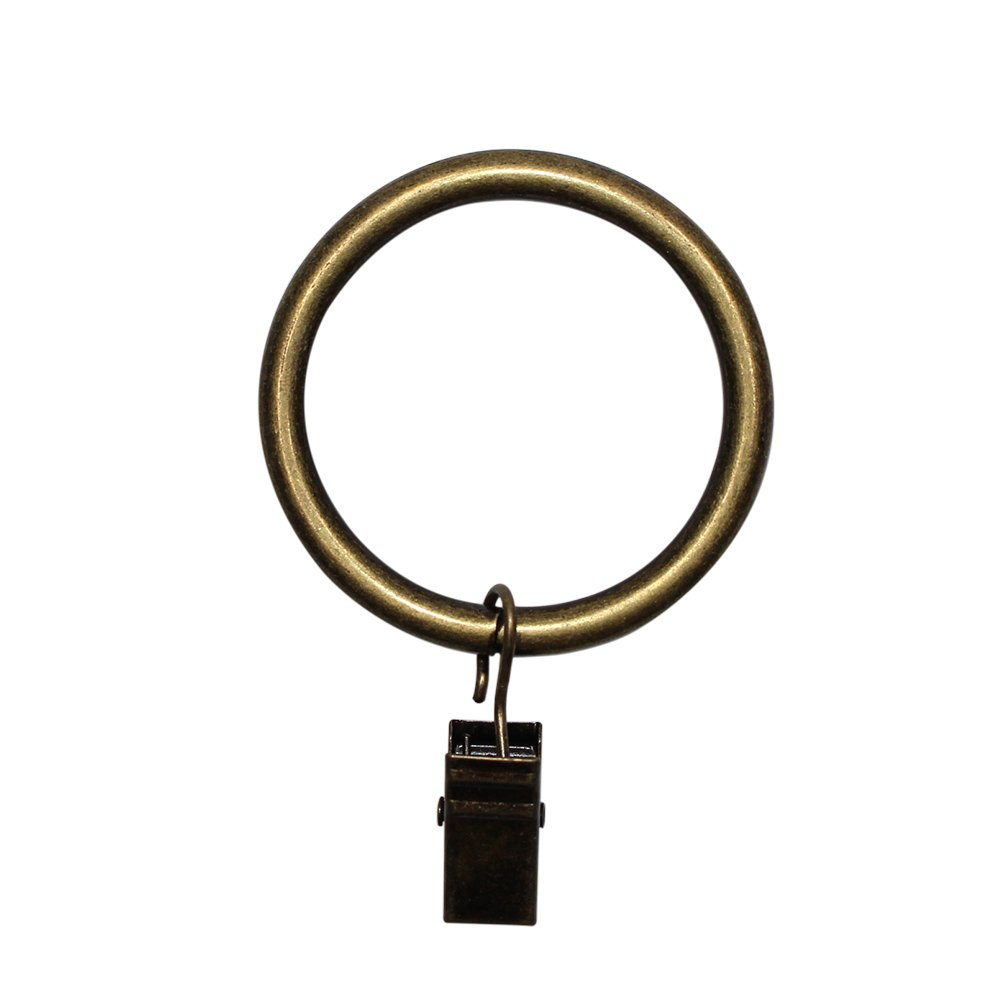 M-Aimee Metal Curtain Rings with Clips - 5mmExtra Thick(1.5 inch Interior Diameter) - Set of 32pcs (Bronze) clip-bronze
