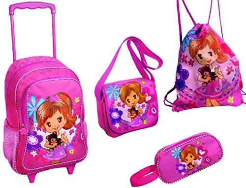 4 teiliges MÄDCHEN Reise Koffer Set TASCHE REISETASCHE TROLLEY Kinder Pink