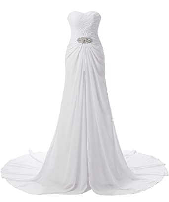 YSFS Women\'s Sweetheart Chiffon Beach Wedding Dress Bridal Dress ...