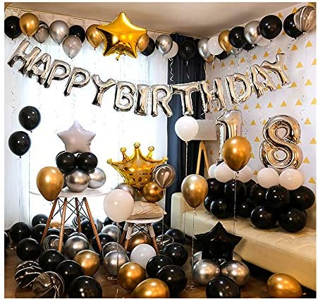 Ponmoo Happy Birthday Ballon Golden Folienluftballons Dekoration Birthday Party Schwarz Happy Birthday Luftballons Ros/égold Geburtstag Folienballon Happy Birthday Silber Golden