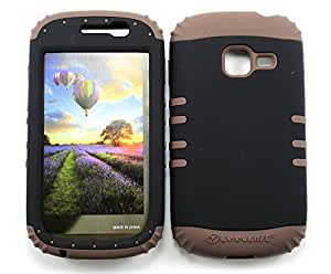 SHOCKPROOF HYBRID CELL PHONE COVER PROTECTOR FACEPLATE HARD CASE AND BROWN SKIN WITH STYLUS PEN. KOOL KASE ROCKER FOR SAMSUNG GALAXY DISCOVER CENTURA R740 BLACK CF-A008-G