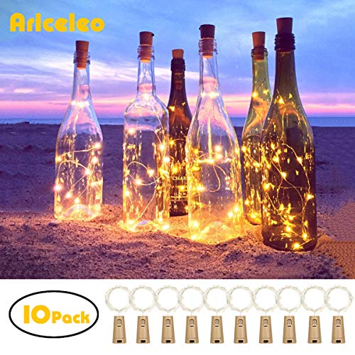 Ariceleo 20 LED 10 Packs Wine Bottle Lights Copper Wire Fairy String Light Warm White Bottle Stopper Atmosphere Lamp for Christmas Xmas Holiday Festival DIY Home Party Decoration Present Gift ()