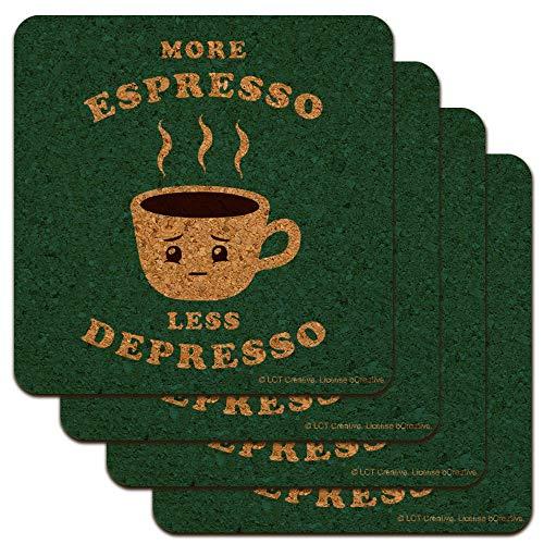More Espresso Less Depresso Depression Coffee Funny Humor Low Profile Novelty Cork Coaster Set