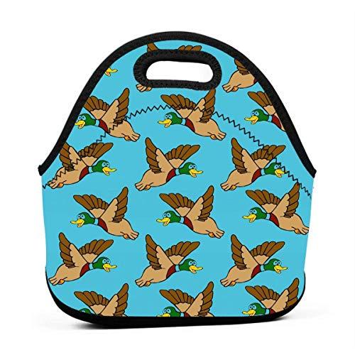 liuKen Flying Mallard Ducks Neoprene Lunch Bags Portanble Lunch Tote Bag Lunch Box for Women for Work for Kids Girls Back to School Gifts