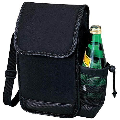 Eunichara Plus Thermal Insulated Cooler Lunch Bag 600D Polyester PVC Backing with Leatherette Trim Side Bottle Holder - Color Black (Holder Trim)