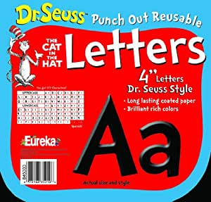 Eureka Dr. Seuss Punch Out Reusable Decorative 4-Inch Letters, Black, Set of 200 (845033)