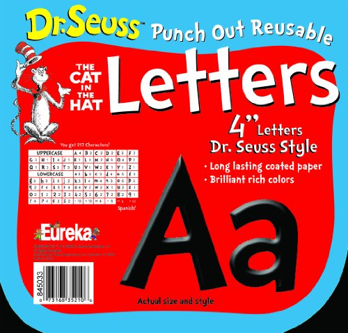 Eureka Back to School Dr. Seuss The Cat in The Hat Black Punch Out Deco Letters Classroom Decorations, 217pc, 4'' H -