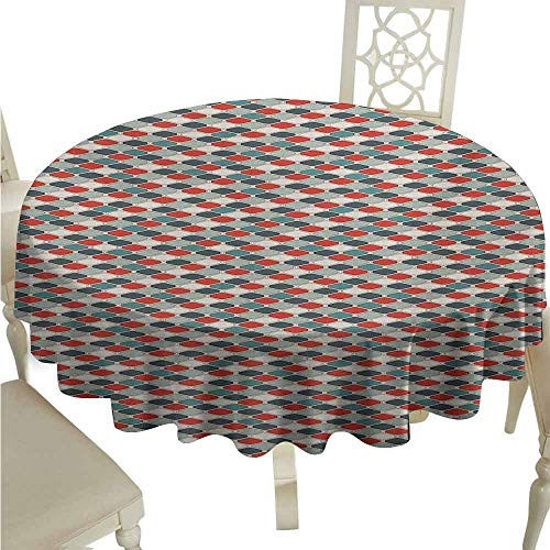 (duommhome Retro Oil-Proof Tablecloth Pattern of Mosaic with Geometric Design Old Fashioned Lattice Style Octagon Tile Easy Care D39 Multicolor)