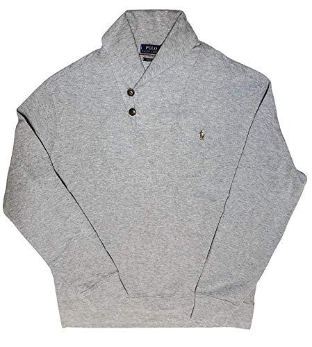 Polo Ralph Lauren Mens Shawl Neck Estate Rib Sweater Pullover (S, Grey Heather) ()