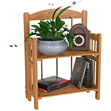 Lavish Home Bookcase for Decoration, Home Shelving, and Organization by 2 Shelf, Folding Wood Display Rack for Home and Office (Light Brown)