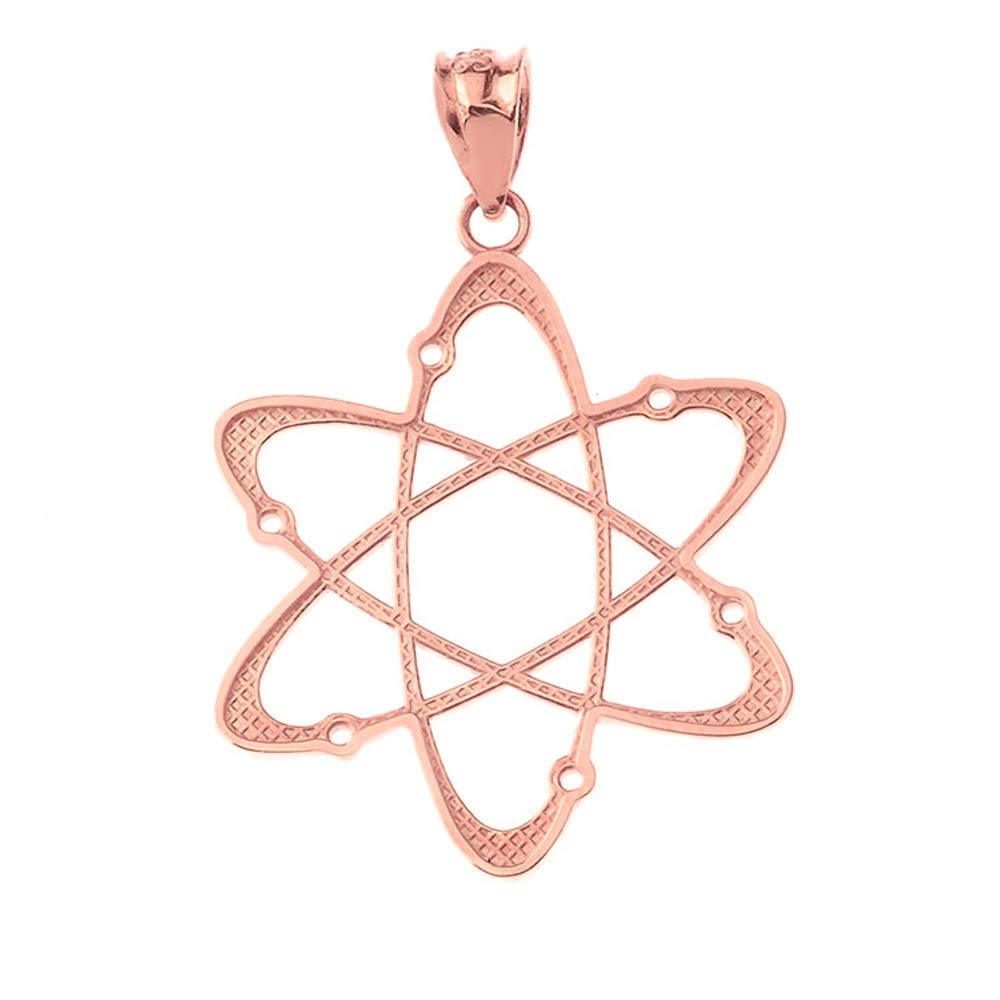 CaliRoseJewelry 14k Rose Gold Carbon Atom Science Reversible Charm Pendant