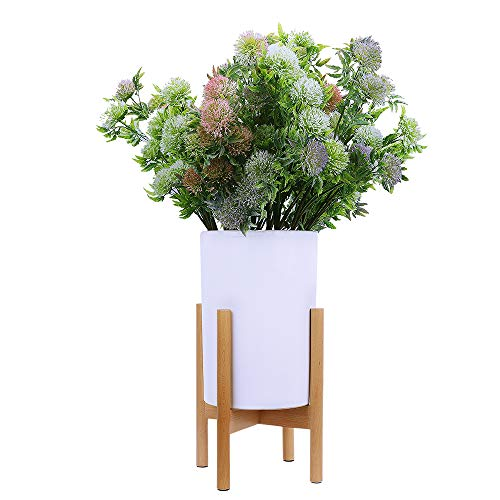 Homes Garden Mid Century Modern Plant Stand - Best Fits 9'' Flower Pot Natural Beech Wood Outdoor Indoor Planter Holder Home Decor Garden Gift (Pot & Plant Not Included) #K318A00